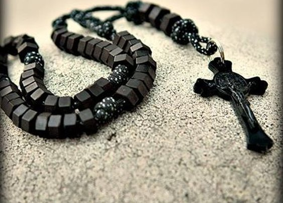 Black Paracord + Black Hex Nuts + Black Crucifix = Very Manly Rosary.
