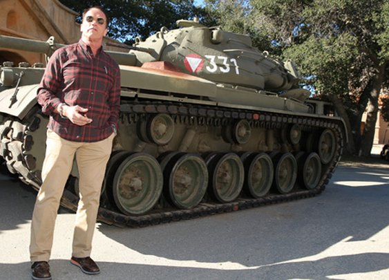Arnold Schwarzenegger Crushes Things With His Tank