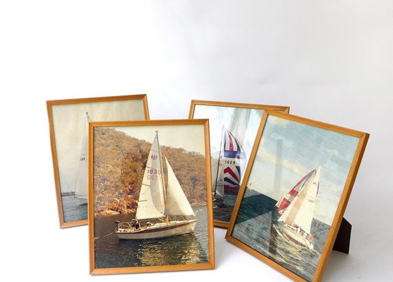 Vintage 1960s set of four framed photos small racing by evaelena