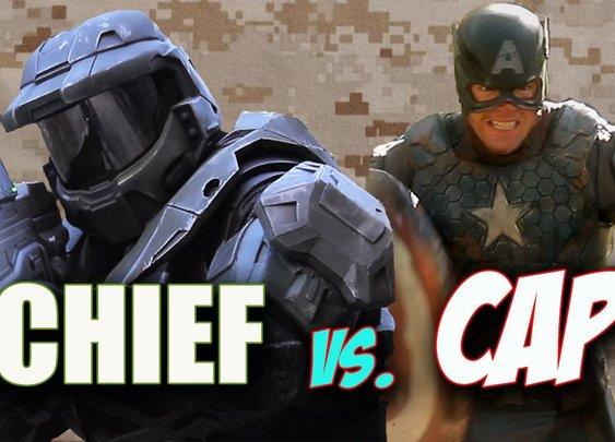 MASTER CHIEF VS. CAPTAIN AMERICA - Super Power Beat Down - YouTube