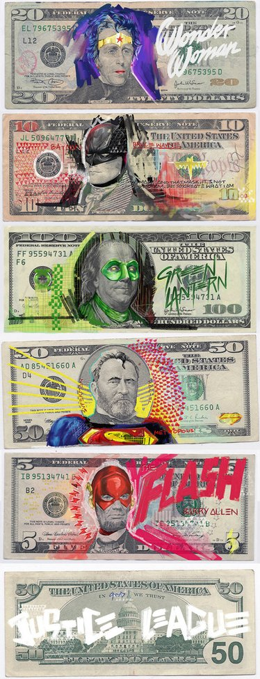 US Bills Defaced With Justice League Characters