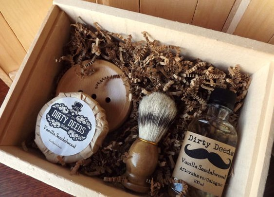 3 Men's Shave Set in Deluxe Wood Box with by DirtyDeedsSoaps