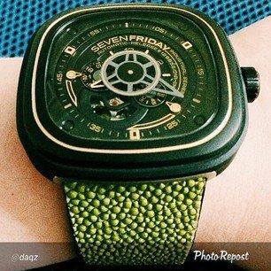 Green stingray watch strap for SevenFriday. Custom order