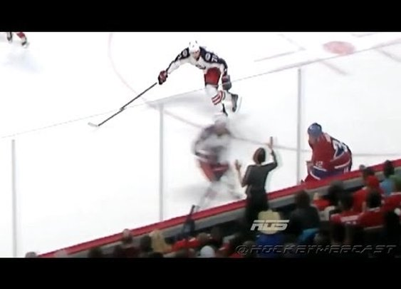 Glass-banging hockey fan knocked down by Hit - Canadiens vs Blue Jackets - March 20, 2014 (HD) - YouTube