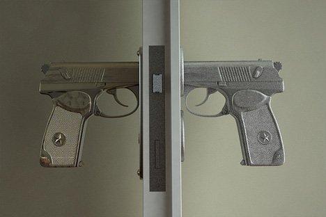 Unnerving Entry: Bang-Bang Door Handle Shaped Like Gun | Designs & Ideas on Dornob