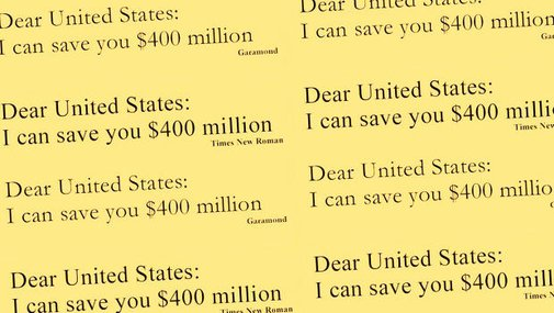 Why Garamond Won't Save The Government $467 Million A Year