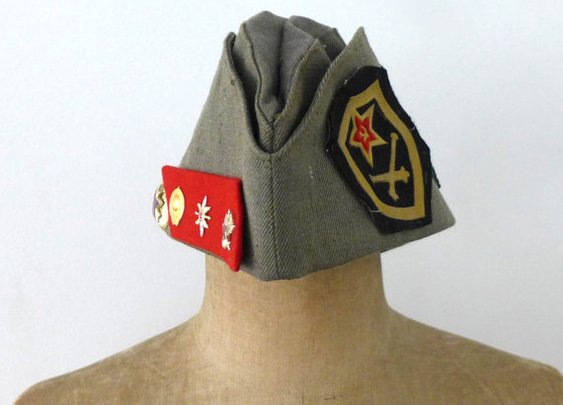 Vintage 1970s Russian pilotka army hat with military by evaelena