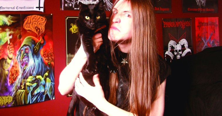 Metalheads Posing With Their Cats