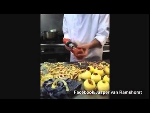 Watch: Innovative Chef uses Power Drill to peel apples in seconds - YouTube
