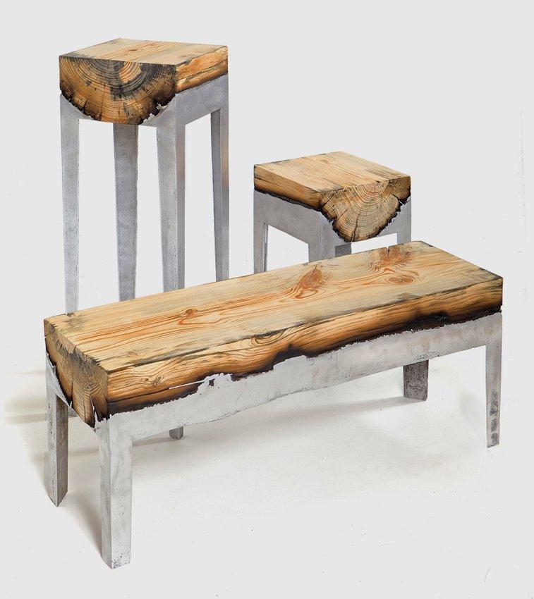 Molten Aluminium and Charred Wood Furniture