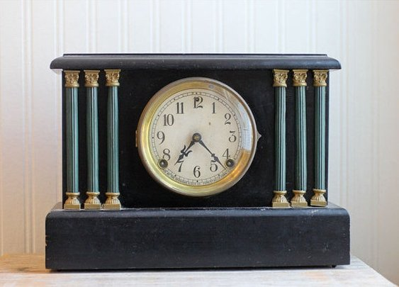 SALE Sessions Antique Clock Mantel Clock Wood Clock by MollyFinds