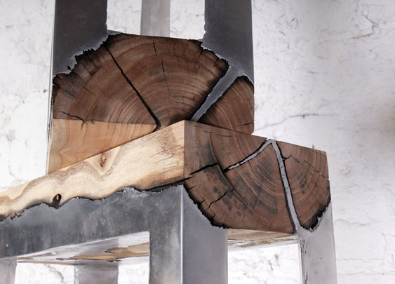 Wood Casting by Hilla Shamia - Molten Aluminium and Charred Wood Furniture | Homeli