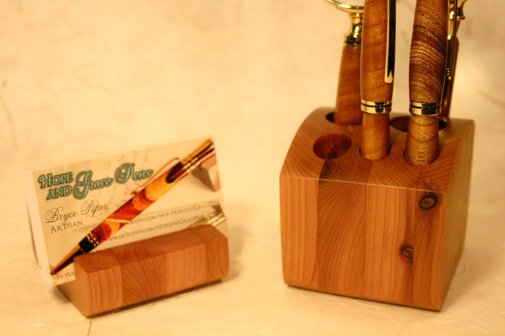 Wood desk organizer set, handcrafted wood 2 piece by Hope & Grace Pens