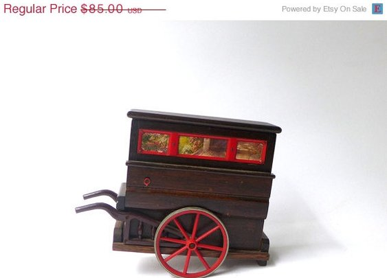 on sale Antique oak music box by evaelena on Etsy