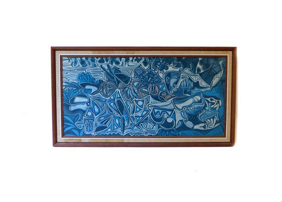 Vintage 1960s blue modernist picasso print by evaelena on Etsy