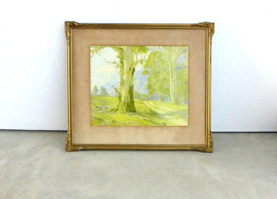 Vintage gilt framed Australian gum tree landscape by evaelena
