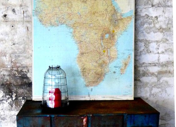 Vintage 1970s large school geographical map of Africa by evaelena