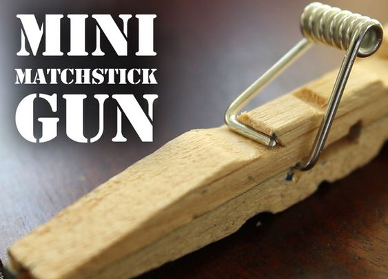 Mini Matchstick Gun - The Clothespin Pocket Pistol