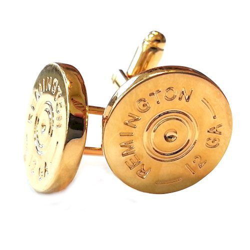 Remington 12 Gauge Shotgun Shell Gold Cufflinks - Groomsmen Gifts
