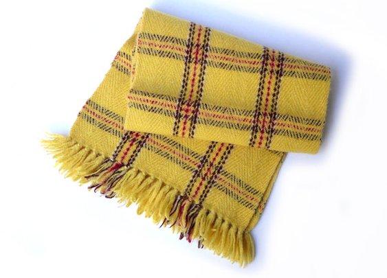 Vintage mid century yellow plaid tartan hand woven by evaelena