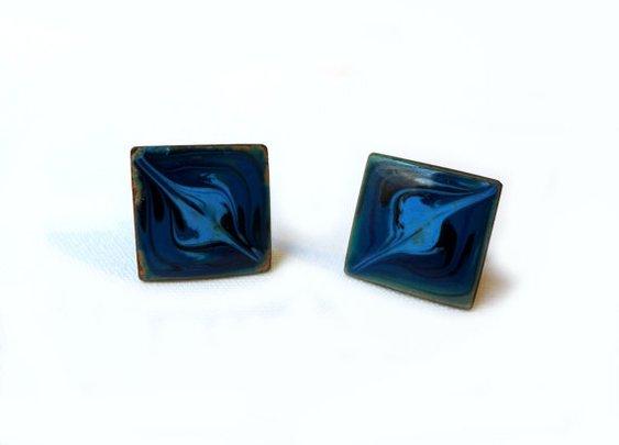 Mid century vintage blue enamel modernist art by evaelena on Etsy