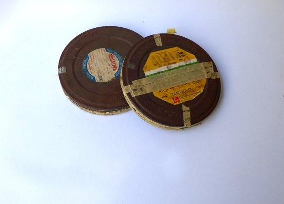 Vintage industrial Kodak 16mm film reel canisters by evaelena