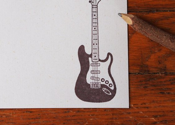 Guitar Stationery music stationery set by blackbirdandpeacock