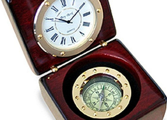 Rosewood Compass Clock - The Groomsmen Gift