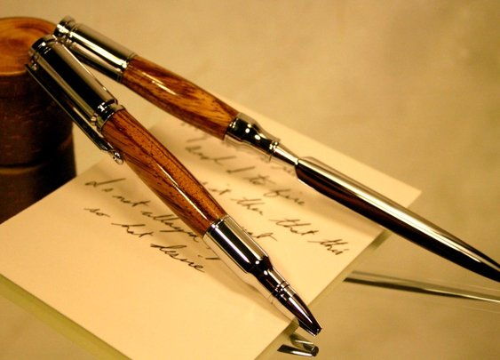 Bullet pen and letter opener set in exotic zebra by Hope & Grace Pens