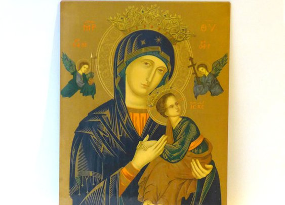 Mid century large Greek orthodox tin and litho icon of by evaelena