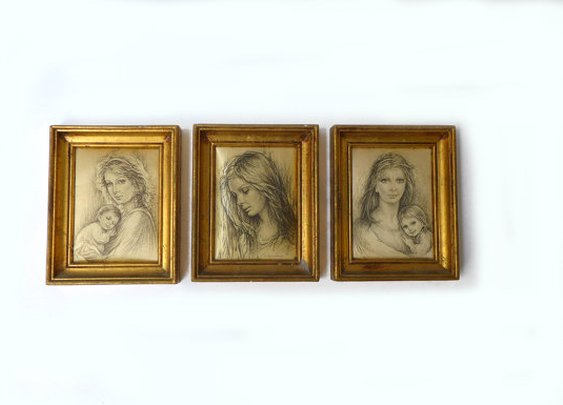 Vintage 1970s Guiseppe Tarantino silk print portraits by evaelena