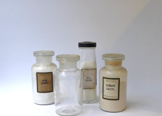 Antique apothecary laboratory chemistry bottles by evaelena