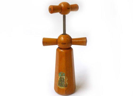 Vintage Mid century French souvenir wooden corkscrew by evaelena