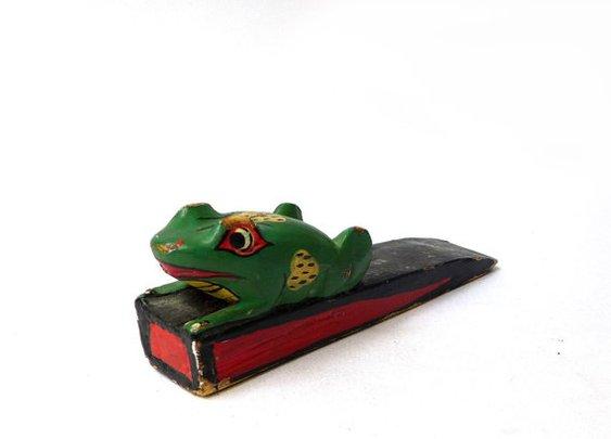 Vintage hand painted Balinese folk art frog door stop by evaelena