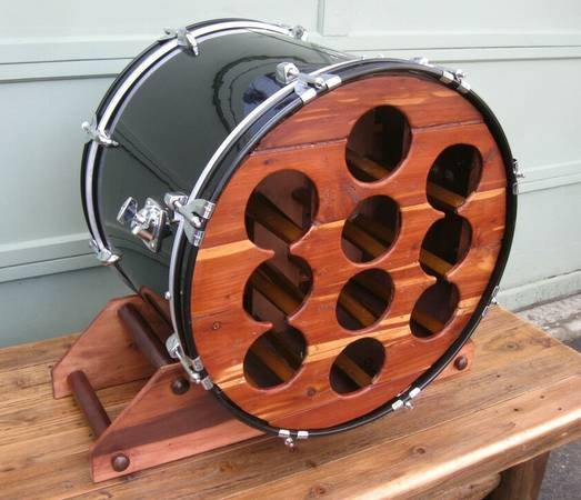 Upcycled Custom Made Bass Drum Wine Rack Gentlemint