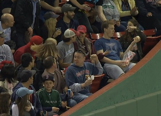 Fan makes laziest catch of the year