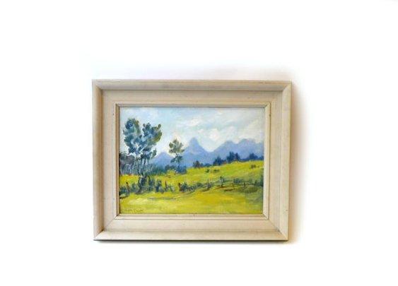 Vintage original framed rural landscape oil painting by evaelena
