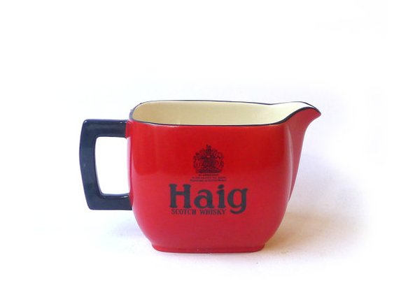 Vintage mid century red Haig whisky jug pitcher by evaelena