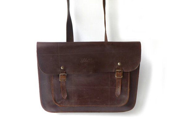Vintage antique 1940s brown leather school satchel by evaelena