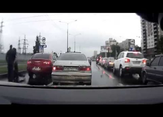 Aggressive Driver Regrets His Road Rage Decision - YouTube