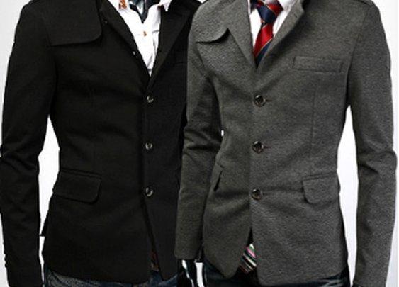 Men 's Casual Blazer with Mandarin Collar