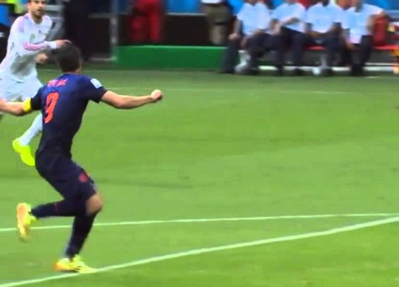 Robin Van Persie Fantastic Header Goal - Spain vs Netherlands Shot of the day