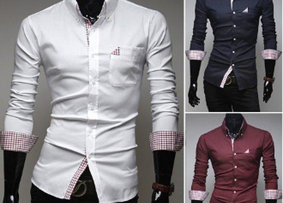 Men's Button Down Shirt with Plaid Details