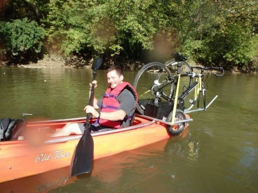 Solo Shuttle Trailer lets you kayak with your bike ... and bike with your kayak