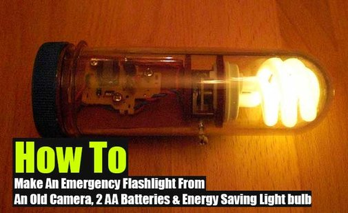 How To Make An Emergency Flashlight From An Old Camera, 2 AA Batteries & Energy Saving Light Bulb - SHTF Preparedness