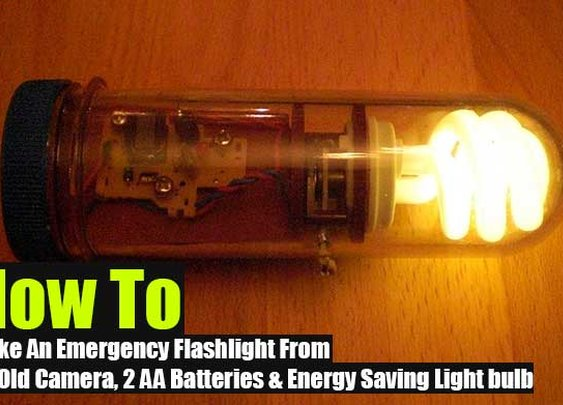How To Make An Emergency Flashlight From An Old Camera, 2 AA Batteries & Energy Saving Light Bulb - SHTF Preparedness