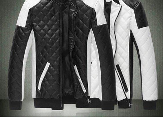 Men's Contrasting Color Biker Faux Leather Jacket