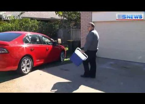 Man throws esky full of water on news reporter - YouTube