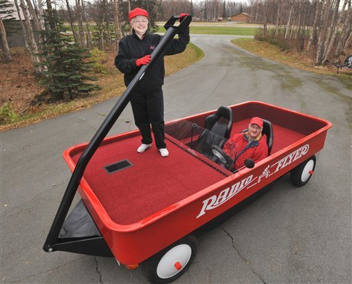 Alaska Couple Converts Pickup Truck To Roadable Radio Flyer Wagon
