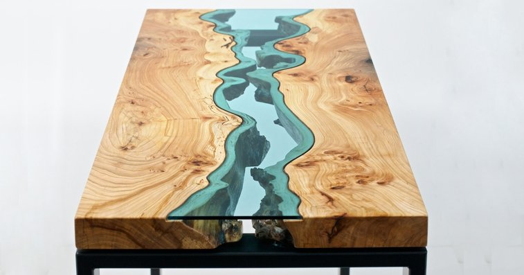 Table Topography: Wood Furniture Embedded with Glass Rivers and Lakes by Greg Klassen | Colossal